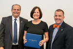 President Glassman and Jay Gatrell, V.P. of Academic Affairs with Joan McCausland by Beverly Cruse
