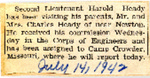 2nd Lt. Harold Heady visiting parents 7-14-1942