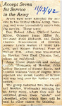 Accept Seven for Service in the Army 11-13-1942