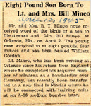 Eigh Pound Son Born To Lt. and Mrs. Bill Mineo 4-12-1945
