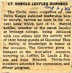 LT Harold Leffler Honored 8-2-1945