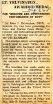 LT John J. Yelvington Awarded Medal 8-9-1945
