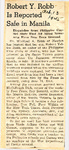Robert Y. Robb Is Reported Safe in Manila 2-13-1945