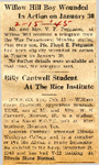 Willow Hill Boy Wounded In Action on January 30 (PFC Floyd E. Ferguson) 2-15-1945