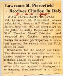 Lawrence M. Piercefield Receives Citation In Italy 2-22-1945