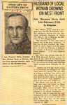 Husband Of Local Woman Drowns On Western Front (SGT Maynard Davis) 2-22-1945
