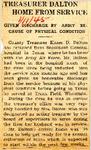 Treasurer Dalton Home From Service (Elmer D. Dalton) 1-11-1945