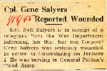 Cpl. Gene Salyers Reported Wounded 1-18-1945