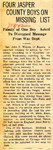 Four Jasper County Boys on Missing List (SGT John P. Wilson) 1-18-1945