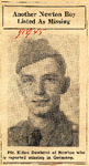Another Newton Boy Listed As Missing (PFC Eldon Dewhirst) 1-18-1945