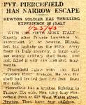 Pvt. Piercefield Has Narrow Escape 1-25-1945