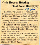 Orla Houser Helping Test New Destroyer 6-5-1945