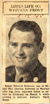 Loses Life on Western Front (Edgar Edward Andrews) 3-15-1945