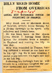 Billy Reed Home from Overseas 3-29-1945