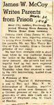 James W. McCoy Writes Parents from Prison (SGT Thomas G. Schwarzlose prisoner of war) 3-30-1945