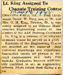 Lt. King Assigned To Chanute Training Course (Daniel W. King) 5-17-1945
