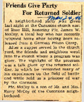Friends Give Party For Returned Soldier (PFC James W. McCoy) 5-24-1945