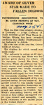 Award of Silver Star Made to Fallen Soldier (SGT Clarence Weck) 5-24-1945