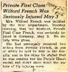 Private First Class Wilford French Was Seriously Injured May 3 5-25-1945