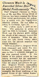 Clarence Weck Is Awarded Silver Star Medal Posthumously 5-25-1945