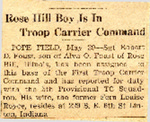 Rose Hill Boy Is In Trooper Carrier Command (SGT Robert D. Foust) 5-29-1945