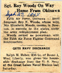 Sgt. Roy Woods On Way Home From Okinawa / Gets Navy Discharge (Ralph H. Huber) 9-27-1945 by Newton Illinois Public Library