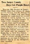Two Jasper County Boys Get Purple Heart (PFC Edward W. Rintz & PFC Herman E. Ferguson) by Newton Illinois Public Library
