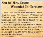 Son Of Mrs. Crane Wounded In Germany (PFC Everett Pittman