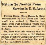 Return To Newton From Service In U.S. Army (SGT Cloyce L. Hunt)