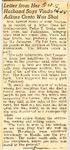 Letter from Her Husband Says Vinda Adkins Oreta Was Shot 10-5-1945