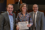 Mary Bower (25 Years of Service), with President Glassman and Jay Gatrell, Vice President for Academic Affairs by Beverly Cruse