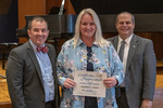 Cynthia L. Foster (20 Years of Service), with President Glassman and Jay Gatrell, Vice President for Academic Affairs by Beverly Cruse