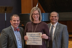 Christina R. Edmonds Behrend (10 Years of Service), with President Glassman and Jay Gatrell, Vice President for Academic Affairs by Beverly Cruse