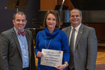Cindy M. Hutchison (10 Years of Service), with President Glassman and Jay Gatrell, Vice President for Academic Affairs by Beverly Cruse