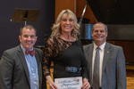 Dawn Porter (10 Years of Service), with President Glassman and Jay Gatrell, Vice President for Academic Affairs by Beverly Cruse
