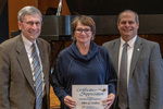 Ellen G. Coultas (20 Years of Service), with President Glassman and Paul A. McCann, Vice President for Business Affairs by Beverly Cruse